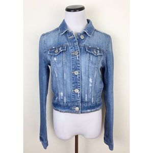 American Eagle Distressed Studded Jean Jacket